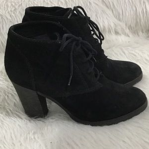 Mango black leather ankle boots
